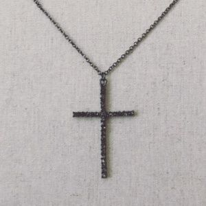 Gunmetal Cross Crystal Necklace